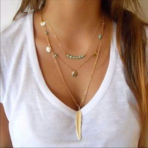 Feather pendant long chain silver sweater necklace